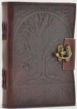 "3.5""x4"" MINI Locking Leather Bound Tree of Life Book of Shadows, Journal, Diary!"