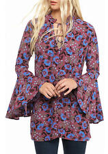 NWT Free People Magic Mystery Printed Tunic Dress Xtra Small Sangria Wine NEW XS