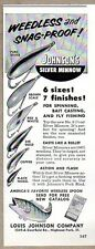 1956 Print Ad Johnson's Silver Minnow Fishing Lures 6 Types Highland Park,IL