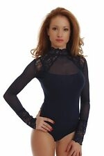 Cotton Women Bodysuit Long Sleeve Turtle mock Neck Thong Mesh Tulle lace 1473