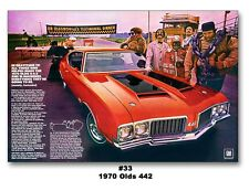 24x36 1970 OLDS 442 CUTLASS 4-4-2 AD ART POSTER PRINT 455 W-30 DR. OLDSMOBILE