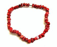 Red Coral Chunky Drilled Bead Magnetic Clasp Necklace #262