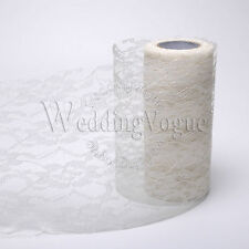 """6"""" x 10yards Lace Roll Ribbon Tulle Spool Table Chair Sashes Wedding Party Craft"""