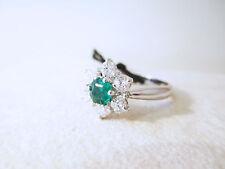ANELLO smeraldo colombia ct 0.40 diamanti brillanti ct 0.60 G/vs oro bianco 18kt