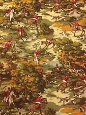 Hunting Fox Horse Hounds Fabric Material Remnant Bevis Tarporley Vintage 1.1m