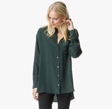 NWT EQUIPMENT  $238. MELODIE LONG SLEEVE SILK TUNIC BLOUSE SCARAB GREEN Medium