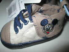 Official Disney Baby Mickey Mouse Botas Zapatos De Lona Color Beige & Fawn edad 3-6M BNWT