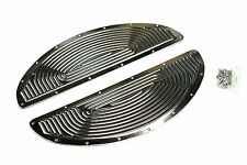 Harley oval half moon floorboards retro chrome ribbed inserts USA made foot peg