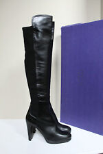 New 10 N Stuart Weitzman Highway 50/50 Over The Knee Black Leather Boot Shoes