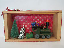 VINTAGE SHADOW BOX CHRISTMAS TRAIN WOODENTREES GIFTS SNOW