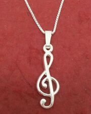 Sterling Silver TREBLE CLEF Necklace - NEW solid 925 charm pendant and chain
