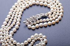"""ART DECO 1930 $20,000 5ct VS F Diamond Platinum DOUBLE STRAND Pearl 36"""" Necklace"""