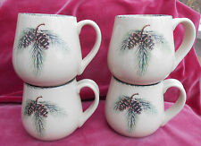 CELEBRATING HOME MUGS 4 PINE CONES BRANCHES WINTER HOLIDAY NORTHWOODS STONEWARE