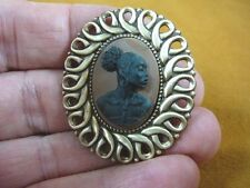 (CA10-18) RARE African American LADY black + brown CAMEO Pin Pendant JEWELRY