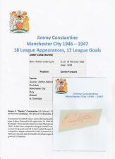 JIMMY CONSTANTINE MANCHESTER CITY 1946-1947 RARE ORIGINAL HAND SIGNED CUTTING