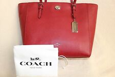 NWT Coach TURNLOCK TOTE Crossgrain Leather Hand Bag 57443 RED Purse Dust Bag