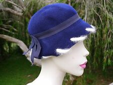 Vintage true 30s cloche tilt hat blue wool felt excellent