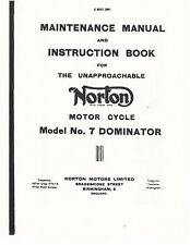Norton Workshop Maintenance Manual Model No. 7 Dominator