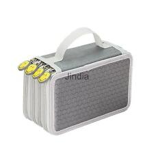 75 Pencil Holders 4 Layer Large Student Pen Bag Pouch Stationary Case Gray