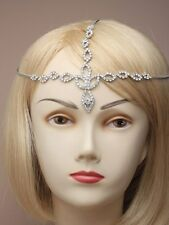 NEW Intricate teardrop detailed crystal diamante headchain tiara wedding bride