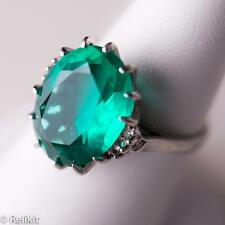 Vintage Estate 10K White Gold 9.5 CT Lab Created Emerald & Diamond Cocktail Ring