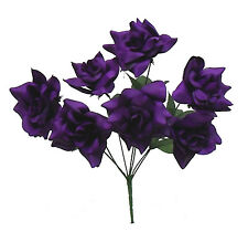 84 OPEN ROSES ~ DARK PURPLE ~ Soft Touch Silk Wedding Flowers Bouquets Bridal