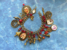 ALICE N WONDERLAND BP CHA CHA CHARM BRACELET:ALICE,MIRROR, QUEEN CHESS PIECES++