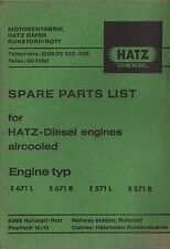 Original HATZ Diesel Engines Spare Parts List E 671 L, E 671 R, E 571 L, E 571 R
