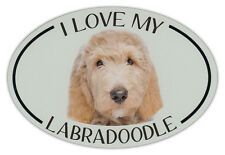 Oval Dog Breed Picture Car Magnet - I Love My Labradoodle - Bumper Sticker Decal