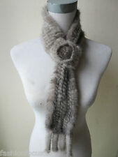 free shipping /real   mink fur knitted scarf  (natural gray)