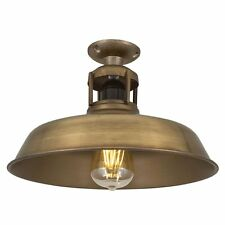Vintage Industrial Style Barn Slotted Flush Mount Ceiling Light - Brass