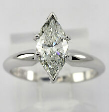 GIA diamond engagement ring 14K wht gold solitaire marquise brilliant 1.69CT NEW