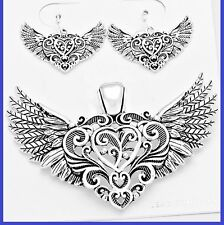 "Filigree Heart Love Wings Angel Silver Pendant Earrings With 23"" Chain Necklace"