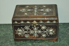 Vintage Handmade Handcrafted Wood Inlay shell Ornate Jewelry Box