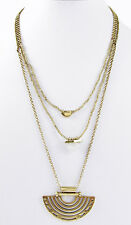 LUCKY BRAND Geo Charm Organic Stone 3-in-1 Layered Gold-Tone Necklace