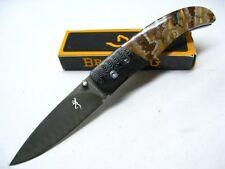BROWNING 0242 Mammoth Tooth Straight DAMASCUS Folding Linerlock Knife! 3220242