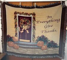 Autumn Wreath - In Everything Give Thanks Woven Tapestry Afghan Throw Blanket
