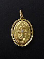 Ancien pendentif porte photo médaillon en plaqué or