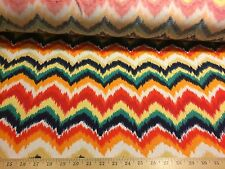"Multi Color Chevron Zig Zag 2 Way Stretch Poly Cotton Lycra Fabric 60""W BTY"