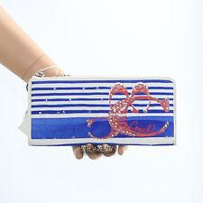 NWT Coach Poppy Sequin Stripe Slim Zip Around Wallet Blue/White New RARE