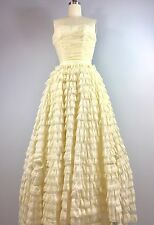 True Vintage 1950s Ivory Ruffle Cupcake Wedding Prom Gown Dress 34 Bust