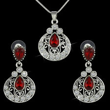 Bohemian Lady Silver Ethnic Jewelry Set Waterdrop Ruby Crystal Earrings+Necklace