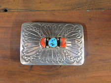 Vintage Navajo Sterling Silver, Turquoise, and Coral Belt Buckle