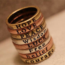 8 PCs Stainless Steel Mixed Engraved Lettering Needs Finger Rings Charm Gift