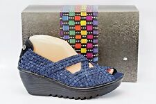Bernie Mev. Calypso Woven Platform Wedge Sandal in Jeans Size 40 (US 10)  S82