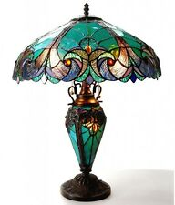 "Tiffany Style Table Lamp Bedroom Stained Glass 18"" Shade Night Light In Base New"