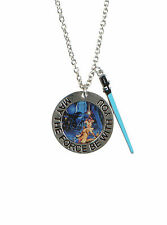 NEW Star Wars Movie May The Force Be With You Pendant LIGHTSABER Charm Necklace