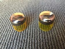 GENUINE MERCEDES OEM W126 W124 W201 YELLOW CHROME FOG LIGHT BULB COVERS (PAIR).