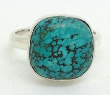 Turquoise ring Cushion solid Sterling Silver, uk size L 1/2, actual one, new.