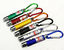 HU CA 3 in1 Multifunction Mini Laser Light Pointer LED Torch Flashlight Keychain